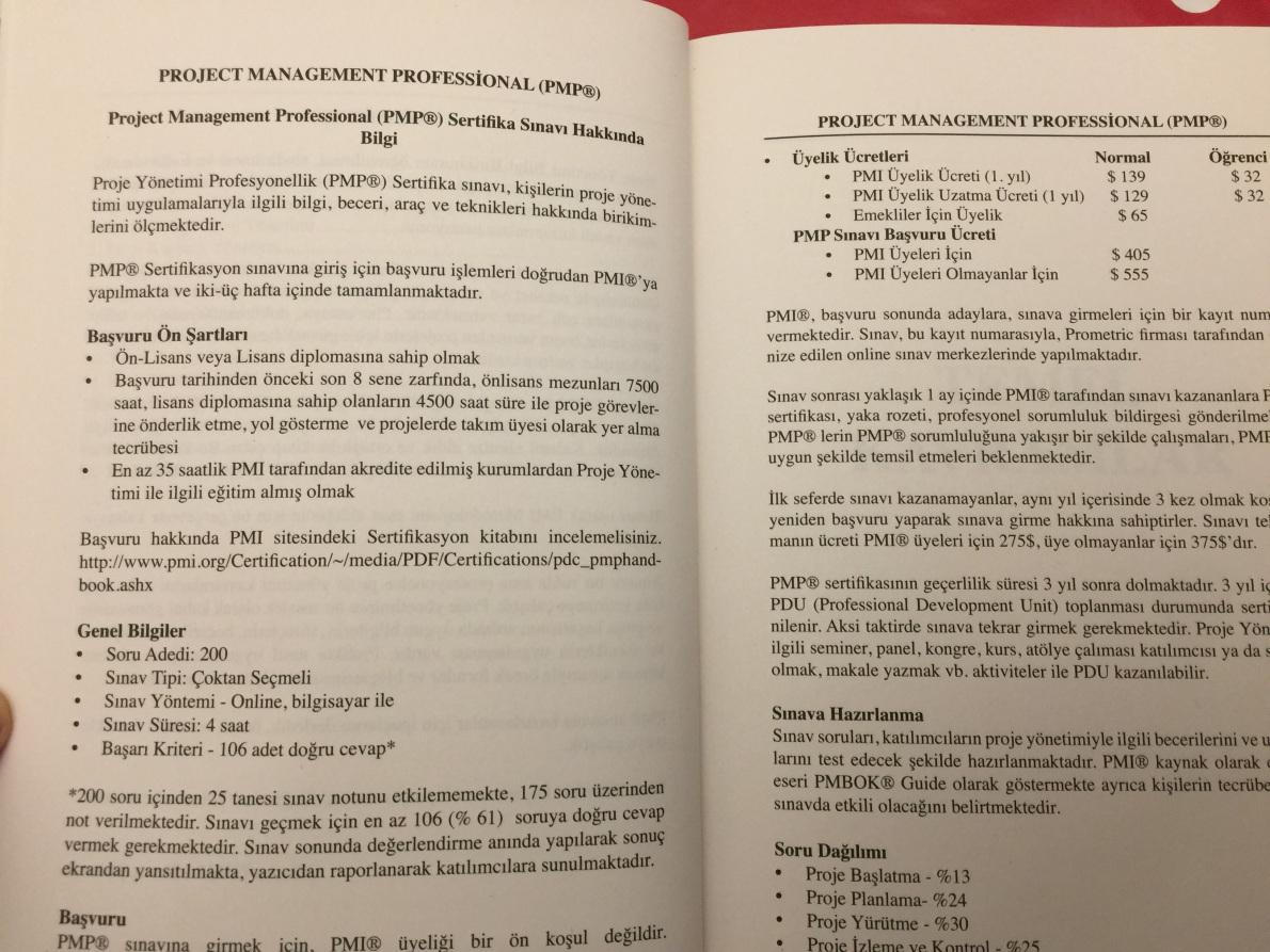 PMP Sınavı Hakkında Bilgiler